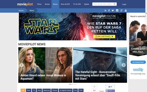 Screenshot of Press Page moviepilot.de - Aktuelle News rund um Kino, TV & DVD - MOVIEPILOT NEWS - captured Jan. 13, 2016