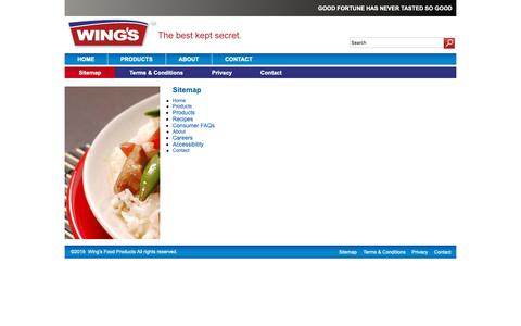 Screenshot of Site Map Page wings.ca - Sitemap // Wing's Food Products - captured Oct. 19, 2018