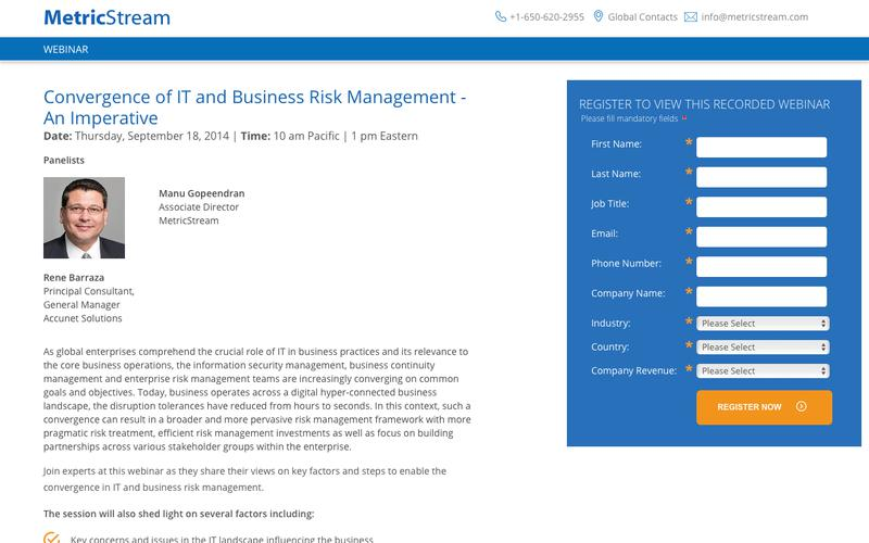 WEBINAR: Convergence of IT and Business Risk Management - An Imperative