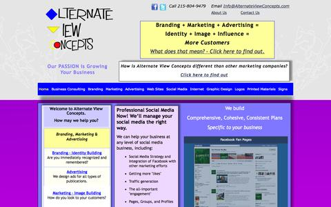 Screenshot of Home Page alternateviewconcepts.com - Home of Alternate View Concepts - captured Sept. 30, 2014
