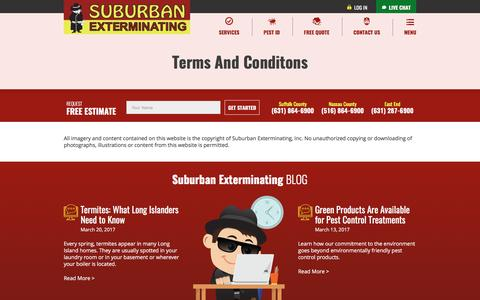 Screenshot of Terms Page suburbanexterminating.com - Terms & Conditions - captured March 22, 2017