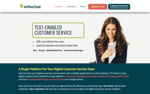 Screenshot of Home Page inthechat.com - In the Chat — Text Messaging Customer Contact Centers | ITC Digital Channels for Sales and Service - captured Feb. 4, 2016