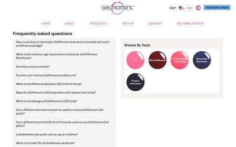 Screenshot of FAQ Page gelmoment.com - FAQ | GelMoment.com - captured July 9, 2018