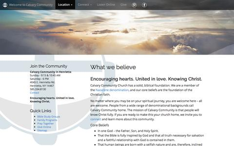 Screenshot of About Page findcommunity.net - What we believe | Calvary Community Church - captured Jan. 24, 2016