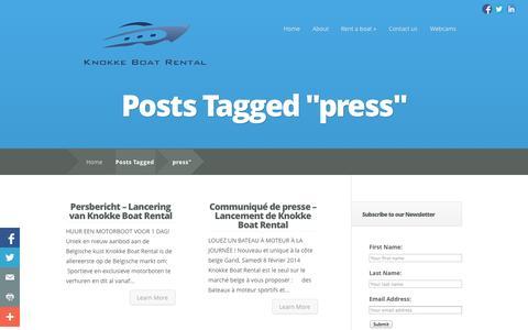 Screenshot of Press Page knokkeboatrental.be - press | Knokke Boat Rental - captured Oct. 8, 2014