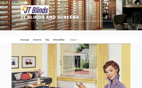 Screenshot of Support Page jtblinds.com - Support - JT Blinds and Screens - captured Sept. 20, 2018