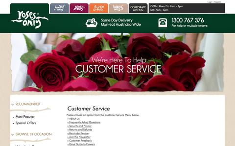 Screenshot of Support Page rosesonly.com.au - Customer Service - Roses Only - captured Feb. 12, 2016