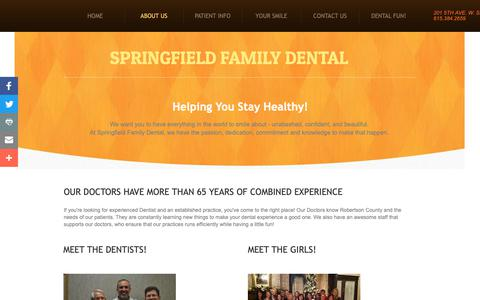 Screenshot of About Page springfieldfamilydental.com - About Us - captured Oct. 18, 2018