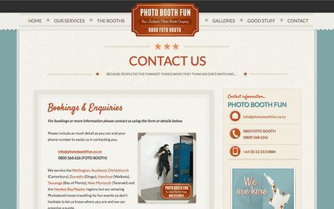Screenshot of Contact Page photoboothfun.co.nz - Contact Us - Photo Booth Fun - New Zealand's Photo Booth Hire Company Photo Booth Fun – New Zealand's Photo Booth Hire Company - captured Sept. 29, 2014