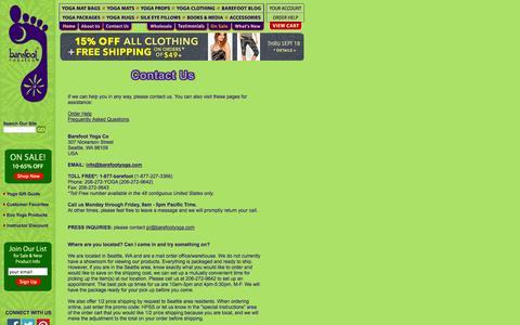 Screenshot of Contact Page barefootyoga.com - Barefoot Yoga Co. | Contact Us - captured Sept. 18, 2014