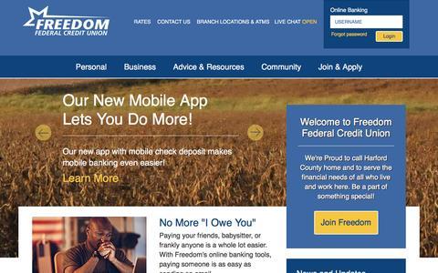 Screenshot of Home Page freedomfcu.org - Home - Freedom Federal Credit Union - captured Feb. 10, 2016