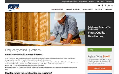 Screenshot of FAQ Page soundbuilthomes.com - FAQs - captured Oct. 7, 2014