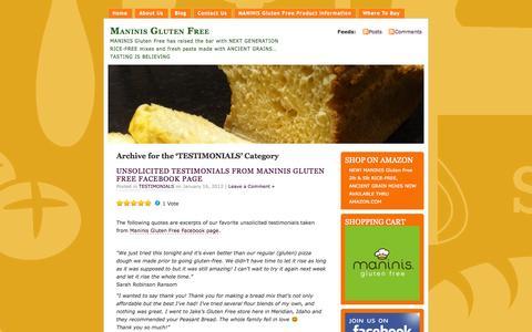 Screenshot of Testimonials Page maninisglutenfreeblog.com - TESTIMONIALS | Maninis Gluten Free - captured Oct. 4, 2014