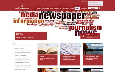 Screenshot of Press Page jacoblaw.com - News | Kanadisches Recht |  Fachartikel » jacob associates - captured Dec. 20, 2018