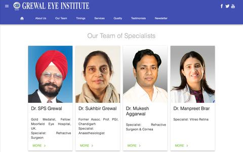 Screenshot of Team Page gei.co.in - Grewal Eye Institute - Ophthalmology| Lasik | Cataract| Smile | Femtosecond Laser - captured Oct. 26, 2018