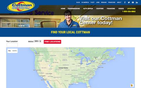 Screenshot of Locations Page cottman.com - Locations - Cottman Transmission & Total Auto Care - captured Feb. 1, 2016