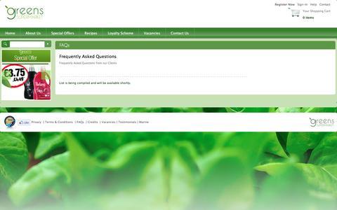 Screenshot of FAQ Page greens.com.mt - Greens Supermarket - FAQs - captured Feb. 2, 2016