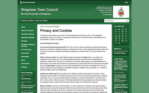 Screenshot of Privacy Page skegness.gov.uk - Privacy and Cookies   Skegness Town Council - captured Dec. 1, 2016