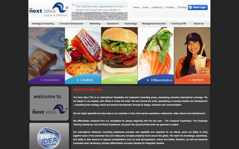 Screenshot of Home Page thenextidea.net - The Next Idea™ - Restaurant Consultants, Restaurant Consulting Firm - captured Sept. 24, 2014