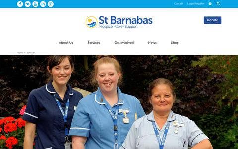 Screenshot of Services Page stbarnabashospice.co.uk - St Barnabas Hospice provides free end-of-life care - captured Sept. 22, 2018