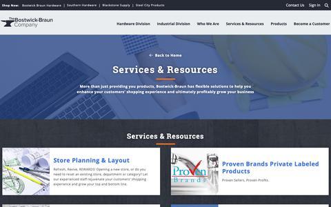 Screenshot of Services Page bostwick-braun.com - Hardware Services & Resources | Bostwick-Braun Hardware - captured Oct. 19, 2018