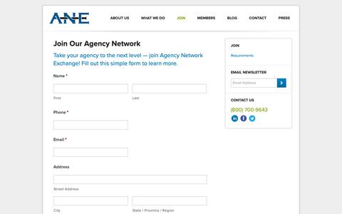 Screenshot of Signup Page ane-agents.com - Join Our Insurance Agency Network - Agency Network Exchange - captured Oct. 3, 2018