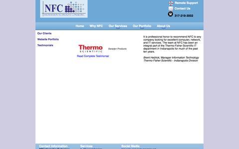 Screenshot of Testimonials Page nfcit.com - NFC Information Technology - Testimonials - captured Oct. 26, 2014