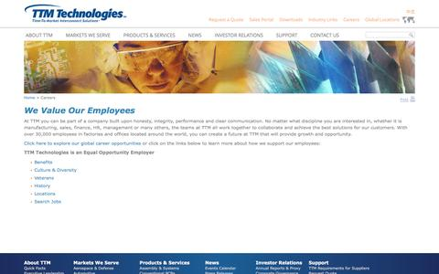 Screenshot of Jobs Page viasystems.com - Careers - TTM Technologies, Inc. - captured Aug. 11, 2016