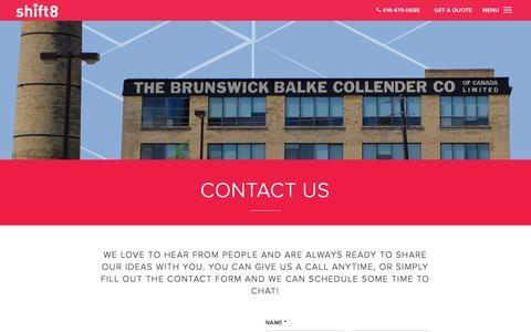 Screenshot of Contact Page shift8web.ca - Contact Us - Toronto Web Design | Web Design Toronto | Shift8 Web - captured Jan. 26, 2017