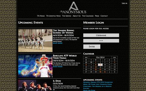 Screenshot of Login Page the-anonymous.com - Events Calendar | The Anonymous - captured Oct. 9, 2014