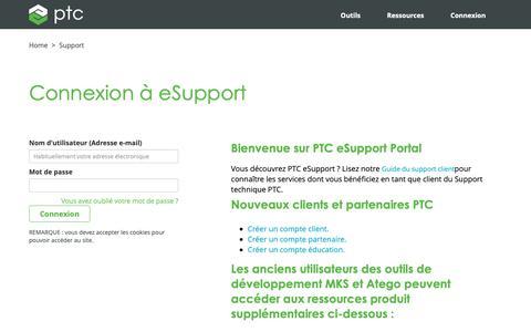Screenshot of Support Page ptc.com - Connexion à eSupport | PTC - captured Nov. 13, 2018