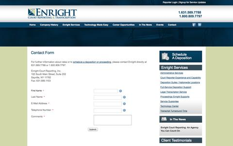 Screenshot of Contact Page enrightcorp.com - Enright Court Reporting Contact Us - captured Oct. 3, 2014