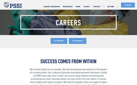 Screenshot of Jobs Page pssi.com - Careers   PSSI Food Safety and Sanitation Professionals - captured Jan. 22, 2020