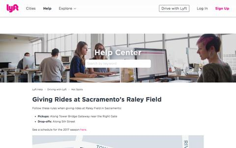 Screenshot of Support Page lyft.com - Giving Rides at Sacramento's Raley Field – Lyft Help - captured June 22, 2018