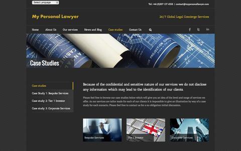 Screenshot of Case Studies Page mypersonallawyer.com - Case studies   My Personal Lawyer - captured Oct. 2, 2014