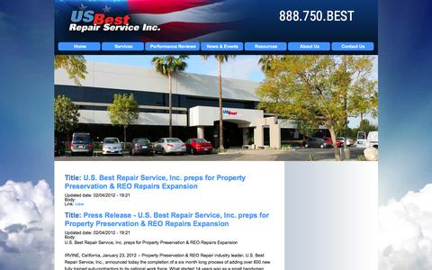 Screenshot of Press Page usbestrepairs.com - US Best Repair Service, Inc. | Nationwide Property Preservation Services & Property Maintenance, REO - captured Feb. 2, 2016