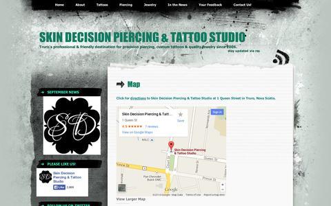 Screenshot of Maps & Directions Page wordpress.com - Map | Skin Decision Piercing & Tattoo Studio - captured Sept. 12, 2014