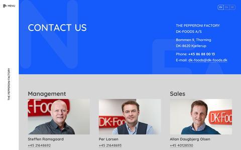 Screenshot of Contact Page dk-foods.dk - Contact Us - captured June 3, 2017