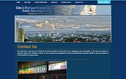 Screenshot of Contact Page cebuinvestment.com - CONTACT US | CEBU INVEST REALTY SERVICES, INC - captured Sept. 24, 2014