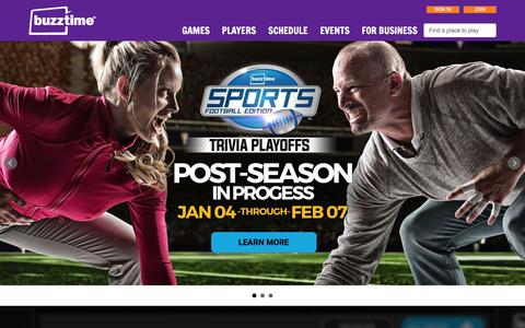 Screenshot of Home Page buzztime.com - Buzztime | Bar Trivia, Live Trivia, Cards & Sports Games - captured Jan. 7, 2016