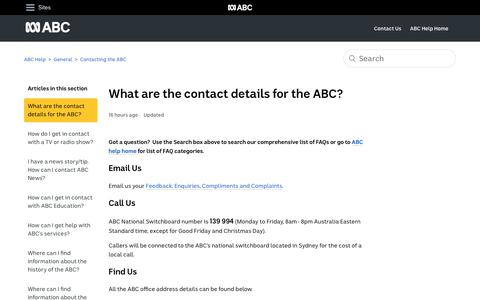 Screenshot of Contact Page abc.net.au - What are the contact details for the ABC? – ABC Help - captured Oct. 2, 2019