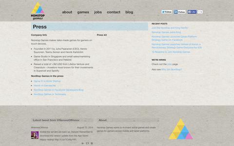 Screenshot of Press Page nonstop-games.com - Press   Nonstop Games - captured Sept. 16, 2014