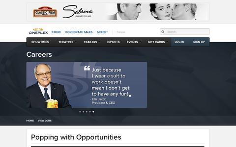 Screenshot of Jobs Page cineplex.com - Cineplex.com | Careers - captured Jan. 13, 2016