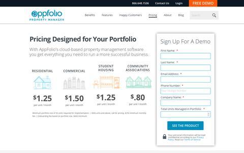 Screenshot of Pricing Page appfolio.com - AppFolio's Transparent Pricing - Free Upgrades & No Hidden Fees - captured Oct. 3, 2018