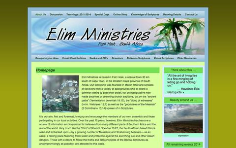 Screenshot of About Page elim.co.za - Homepage - captured Nov. 1, 2014