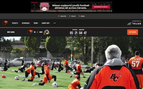 Screenshot of Contact Page bclions.com - Contact Us - BC Lions - captured Sept. 23, 2018