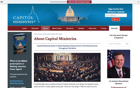 Screenshot of About Page capmin.org - About Capitol Ministries - captured July 14, 2017