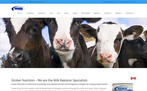 Screenshot of Home Page grobernutrition.com - Grober Nutrition - milk replacer specialists - captured Jan. 27, 2015