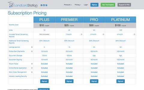 Screenshot of Pricing Page landlordstation.com - Account Pricing | LandLord Station - captured Sept. 19, 2014