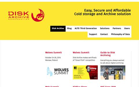 Screenshot of Home Page diskarchive.com - Disk Archive - ALTO - Easy, Secure and Affordable Cold storage and Archive - captured Nov. 24, 2016
